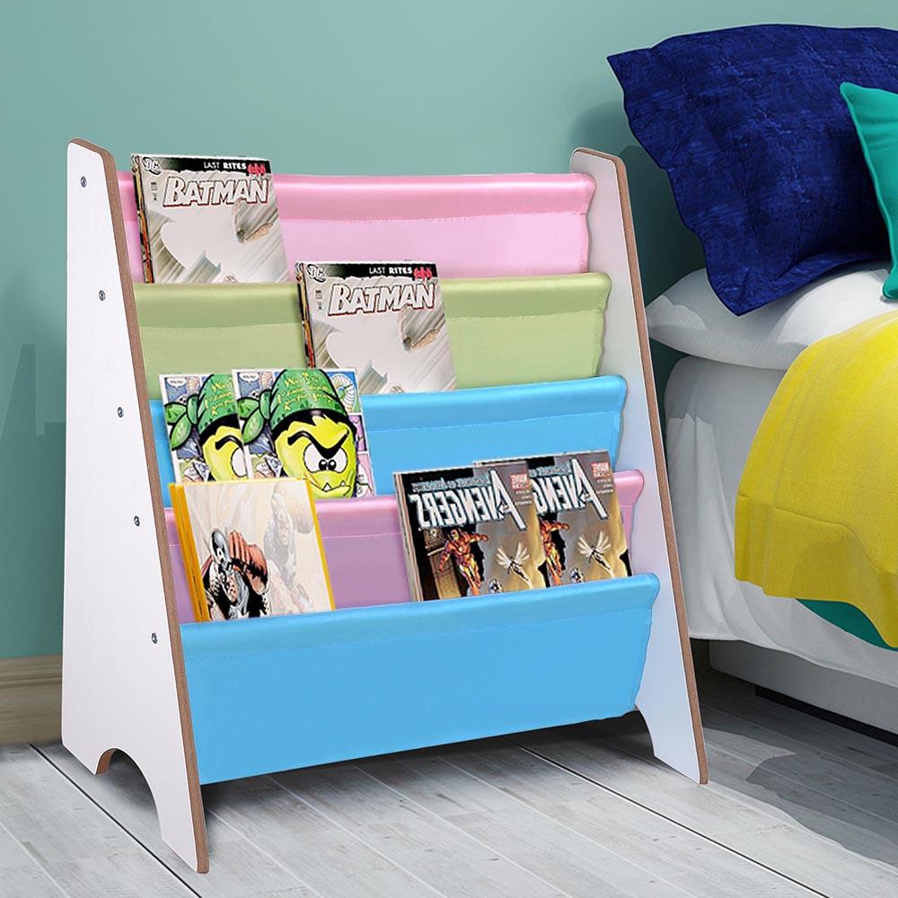 Wood-Kids-Book-Shelf-Sling-Storage-Rack-Organizer-Bookcase-Display-Holder-Opt thumbnail 20