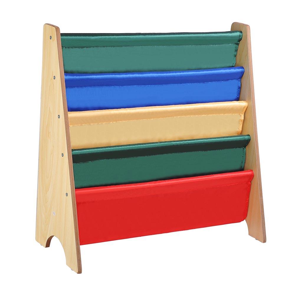 Wood-Kids-Book-Shelf-Sling-Storage-Rack-Organizer-Bookcase-Display-Holder-Opt thumbnail 3