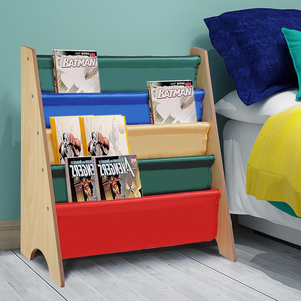 Exhibition Stand Storage : Wood kids book shelf sling storage rack organizer bookcase