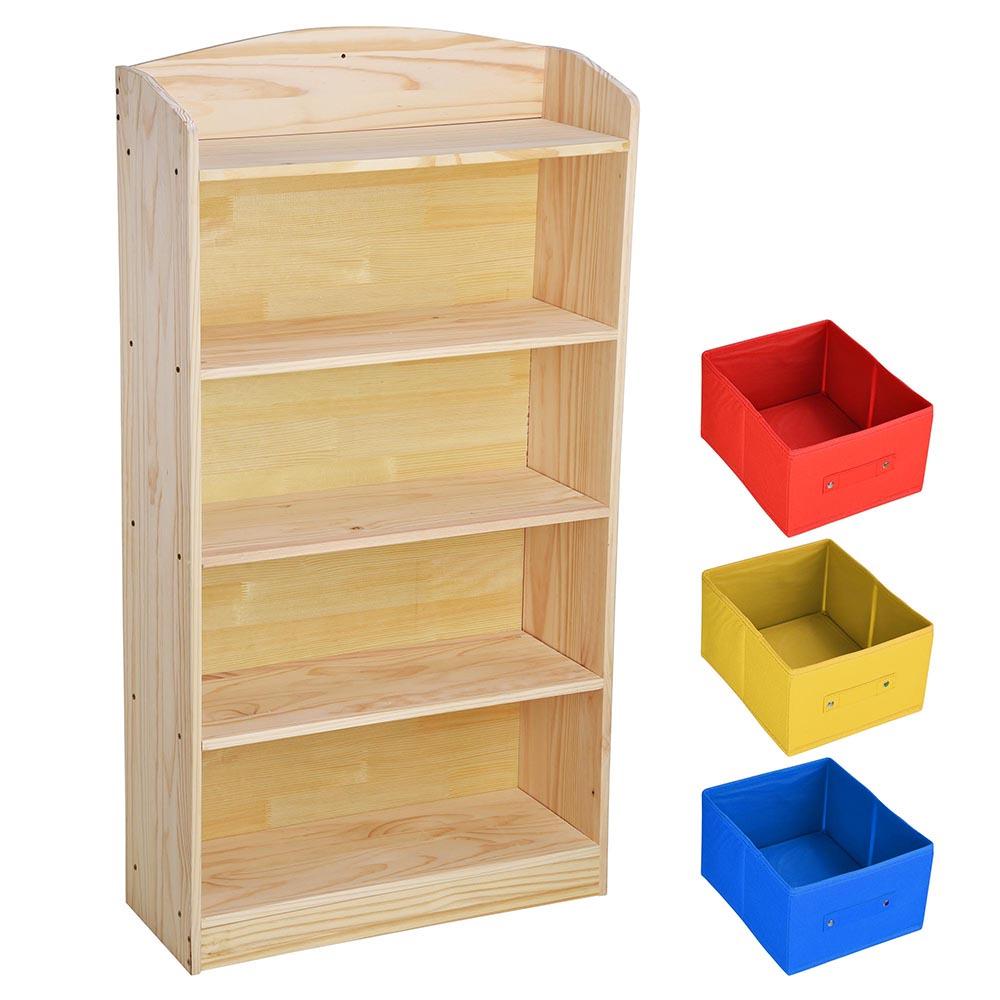 5 shelf wood bookcase book bookshelf unit with 3 bins organizer toy storage box ebay. Black Bedroom Furniture Sets. Home Design Ideas