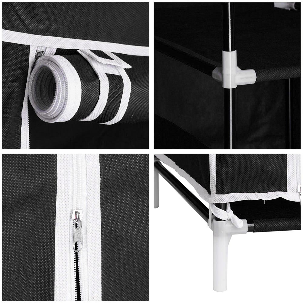 50-034-Portable-Closet-Storage-Organizer-Colthes-Wardrobe-Rack-Shelf-Beige-Red thumbnail 8