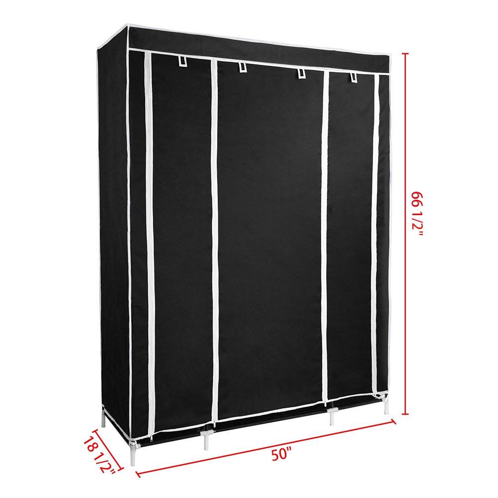 50-034-Portable-Closet-Storage-Organizer-Colthes-Wardrobe-Rack-Shelf-Beige-Red thumbnail 10
