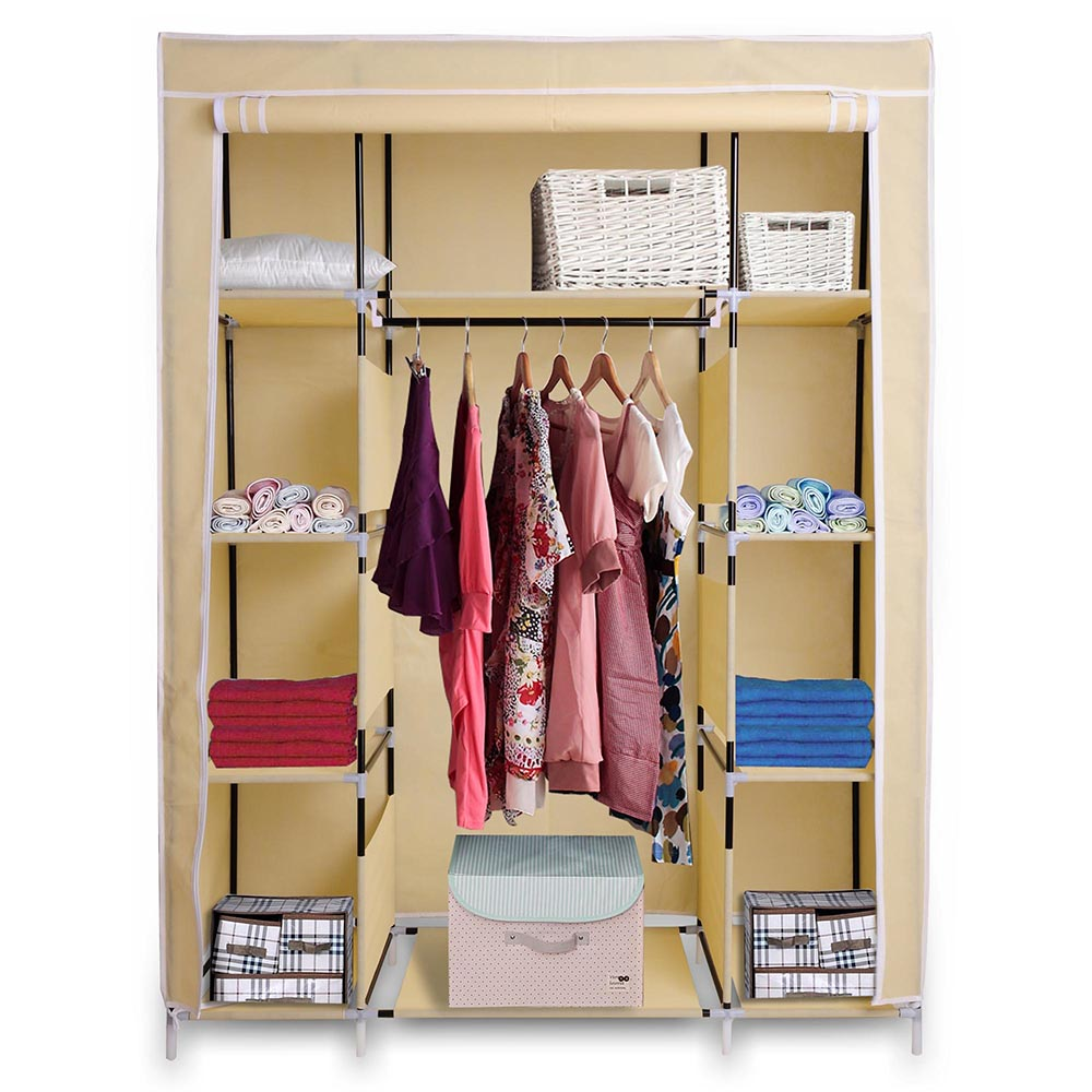"Closet Alternatives For Hanging Clothes 10 Storage Ideas: 67"" Portable Closet Storage Shelves Colthes Fabric"