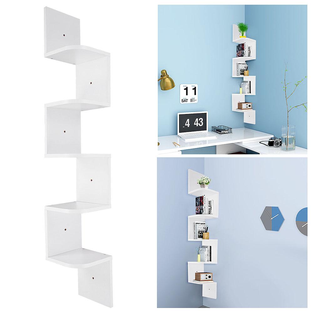 2-3-5-Tiers-Wall-Corner-Wood-Shelf-Zig-Zag-Floating-Display-Rack-Home-Furniture thumbnail 46