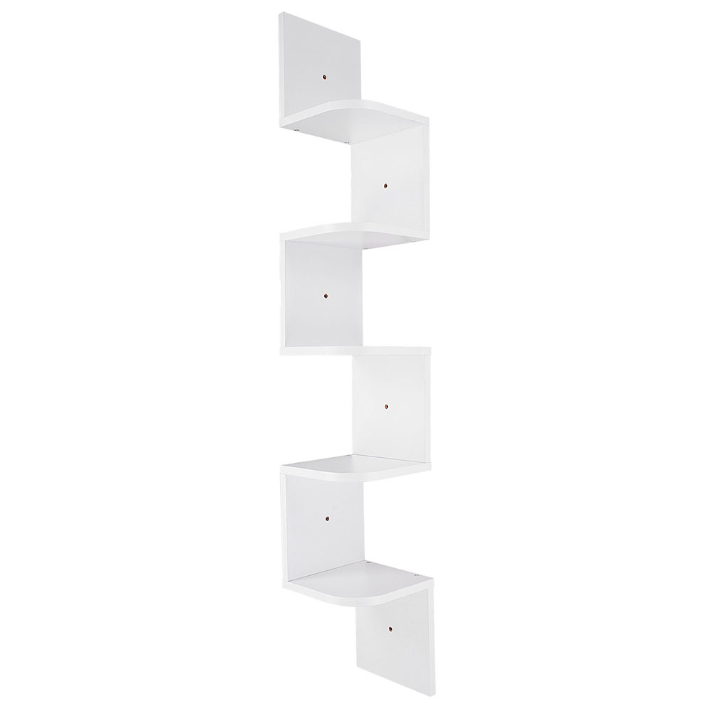 2-3-5-Tiers-Wall-Corner-Wood-Shelf-Zig-Zag-Floating-Display-Rack-Home-Furniture thumbnail 47