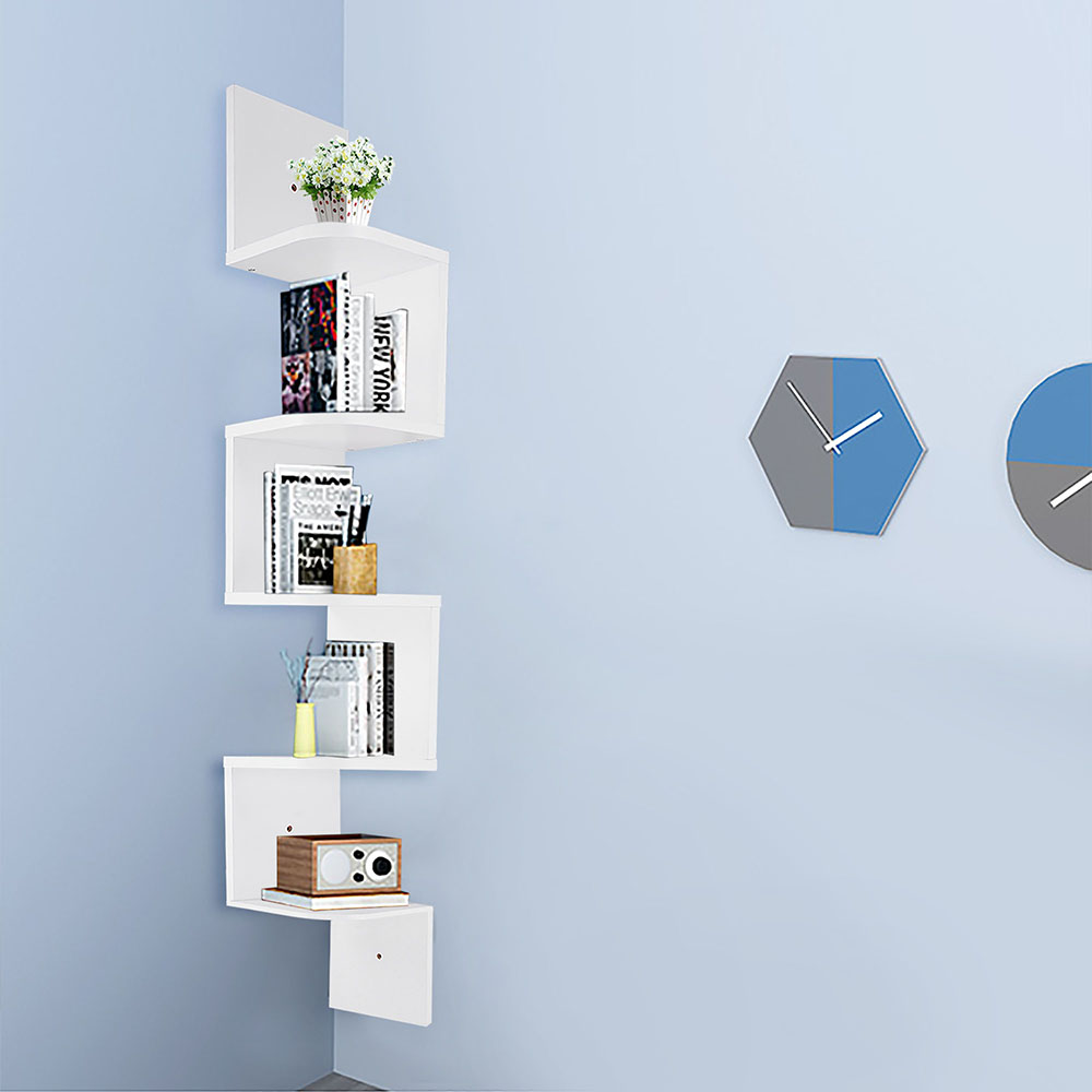2-3-5-Tiers-Wall-Corner-Wood-Shelf-Zig-Zag-Floating-Display-Rack-Home-Furniture thumbnail 49