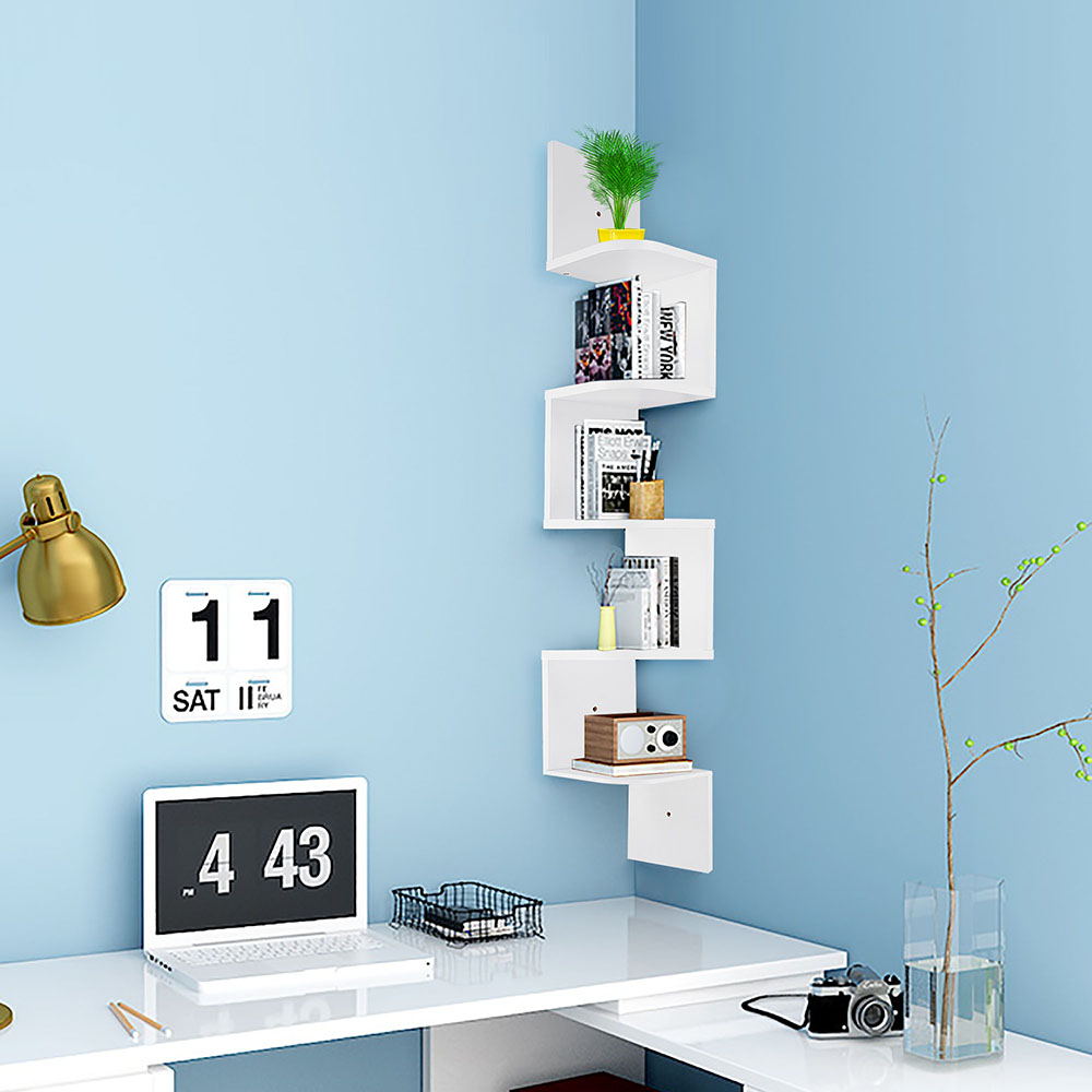 2-3-5-Tiers-Wall-Corner-Wood-Shelf-Zig-Zag-Floating-Display-Rack-Home-Furniture thumbnail 50
