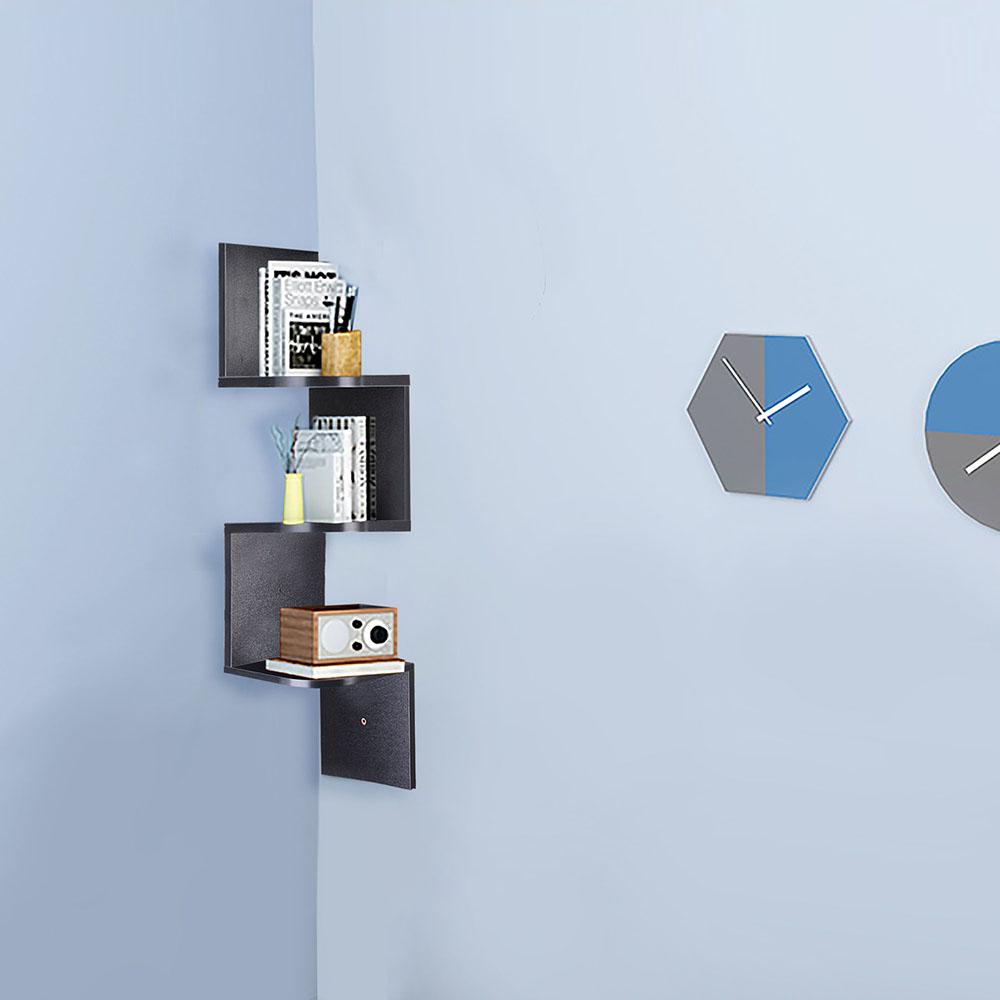 2-3-5-Tiers-Wall-Corner-Wood-Shelf-Zig-Zag-Floating-Display-Rack-Home-Furniture thumbnail 24