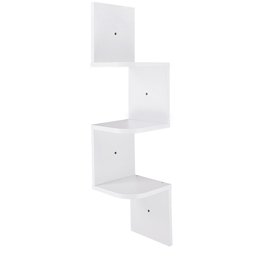 2 3 5 Tiers Wall Corner Wood Shelf Zig Zag Floating