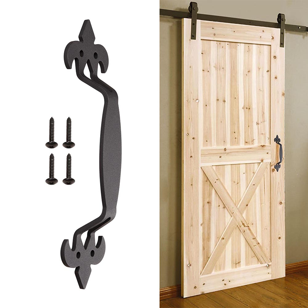 "8/"" Sliding Barn Door Handle Antique Pull Set for Cabinet Closet Cast Iron Matte"