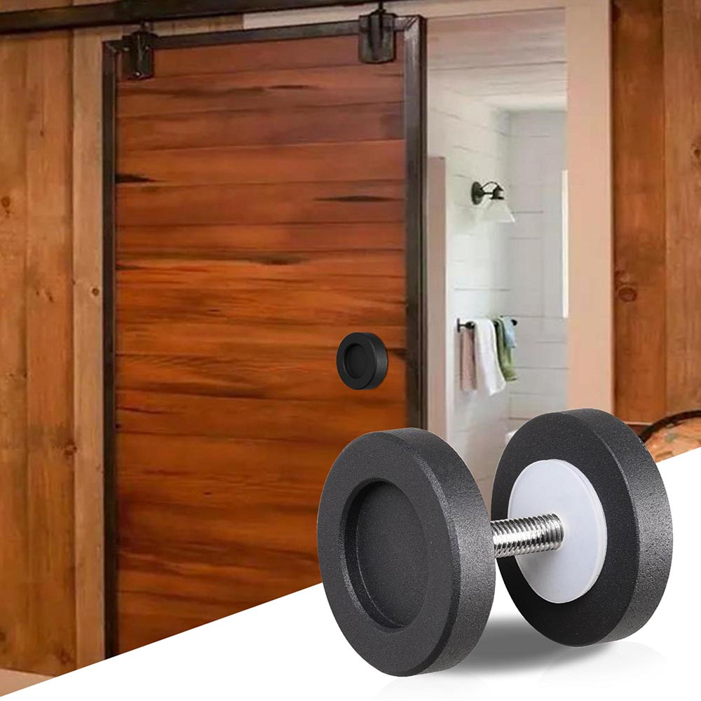 2 Cast Iron Round Knob Handle Pull Gate Shed Matte Black For