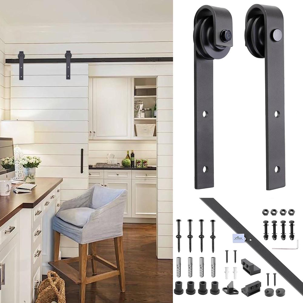 6FT-6-6FT-Carbon-Steel-Sliding-Barn-Wood-Door-Hardware-Track-System-Closet-Set thumbnail 88