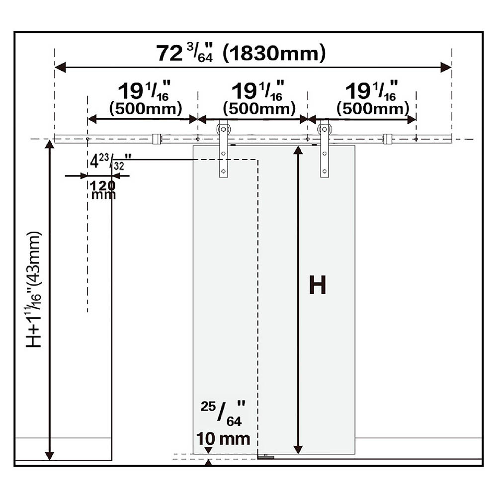6FT-6-6FT-Carbon-Steel-Sliding-Barn-Wood-Door-Hardware-Track-System-Closet-Set thumbnail 98