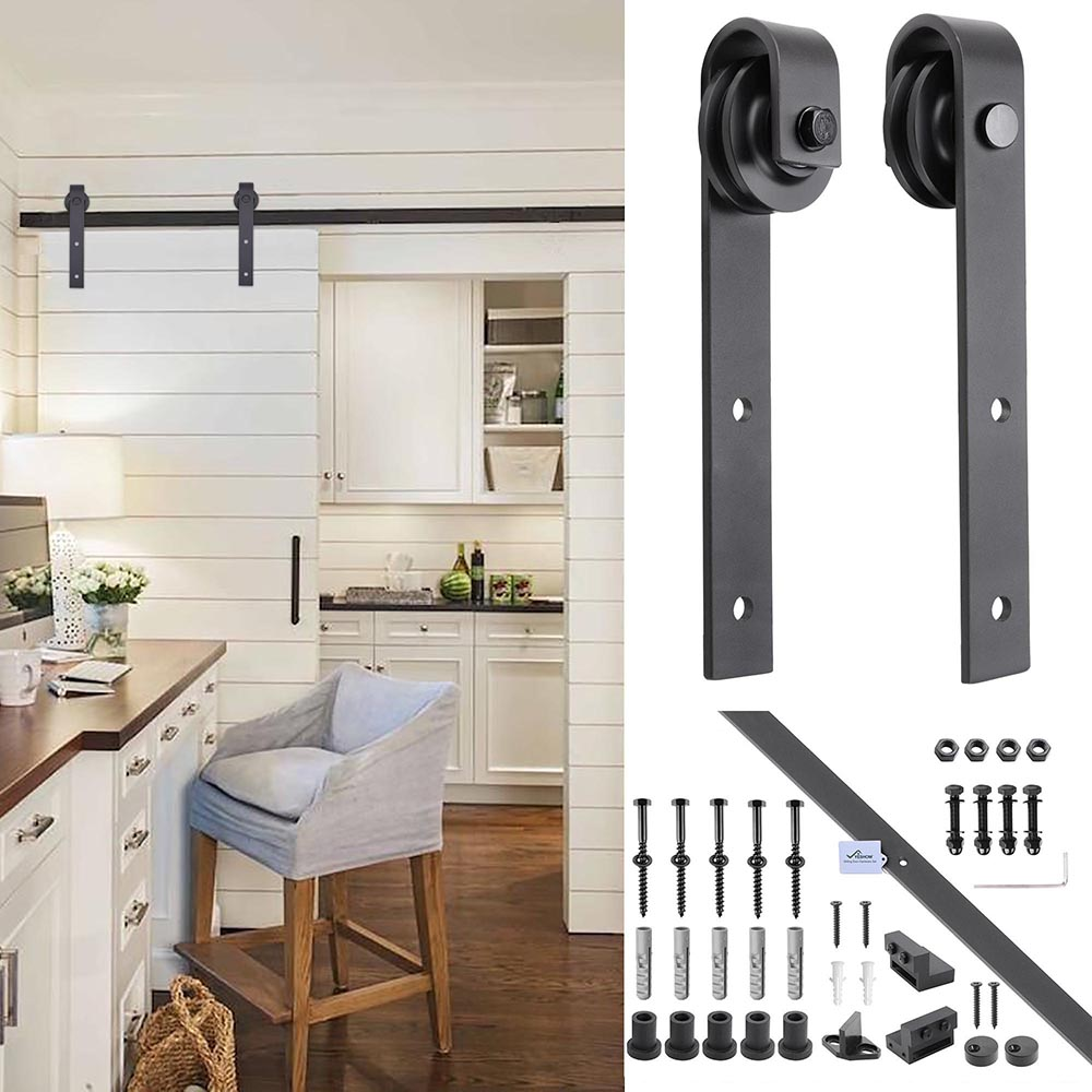 6FT-6-6FT-Carbon-Steel-Sliding-Barn-Wood-Door-Hardware-Track-System-Closet-Set thumbnail 37