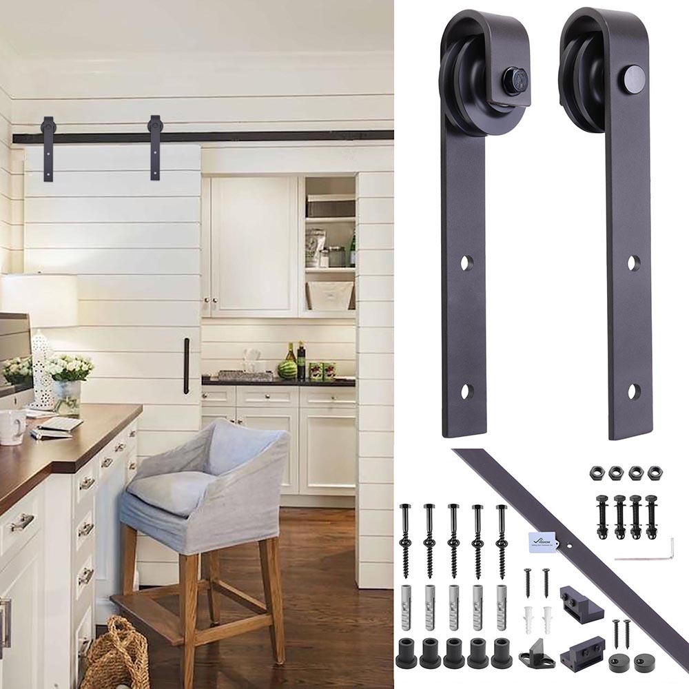 6FT-6-6FT-Carbon-Steel-Sliding-Barn-Wood-Door-Hardware-Track-System-Closet-Set thumbnail 43