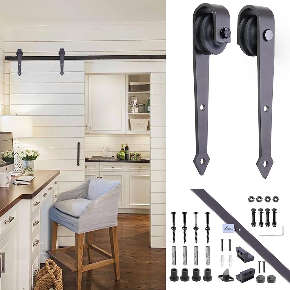 6FT-6-6FT-Carbon-Steel-Sliding-Barn-Wood-Door-Hardware-Track-System-Closet-Set thumbnail 82