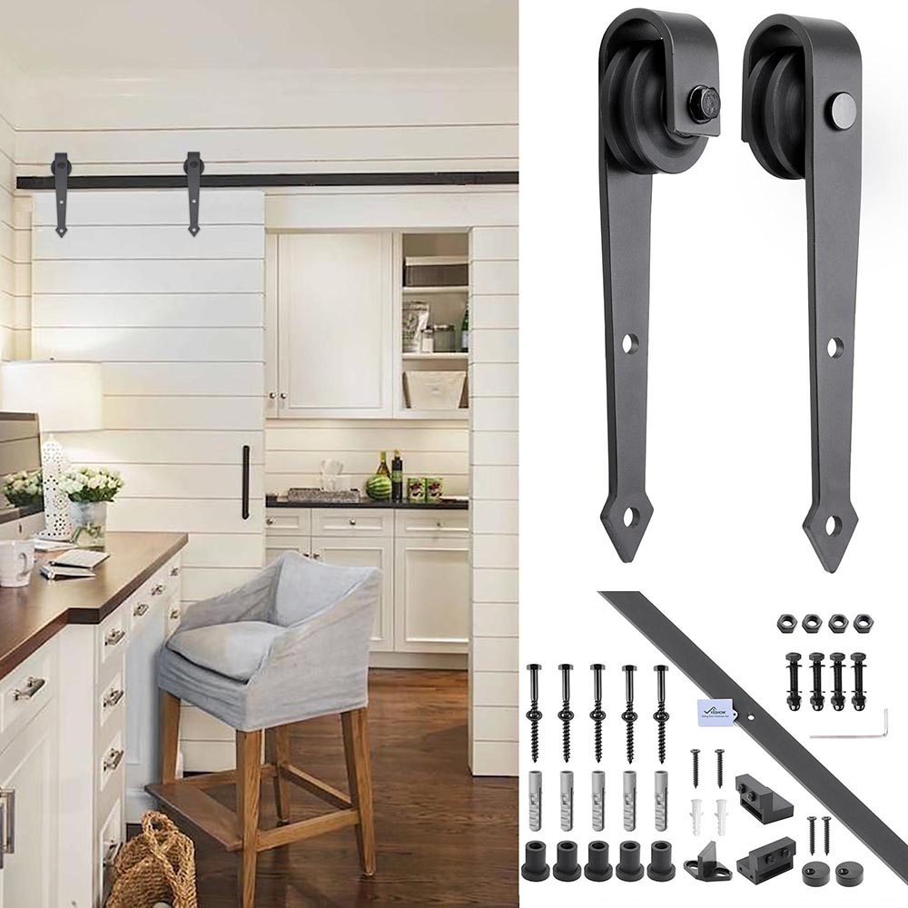 6FT-6-6FT-Carbon-Steel-Sliding-Barn-Wood-Door-Hardware-Track-System-Closet-Set thumbnail 24