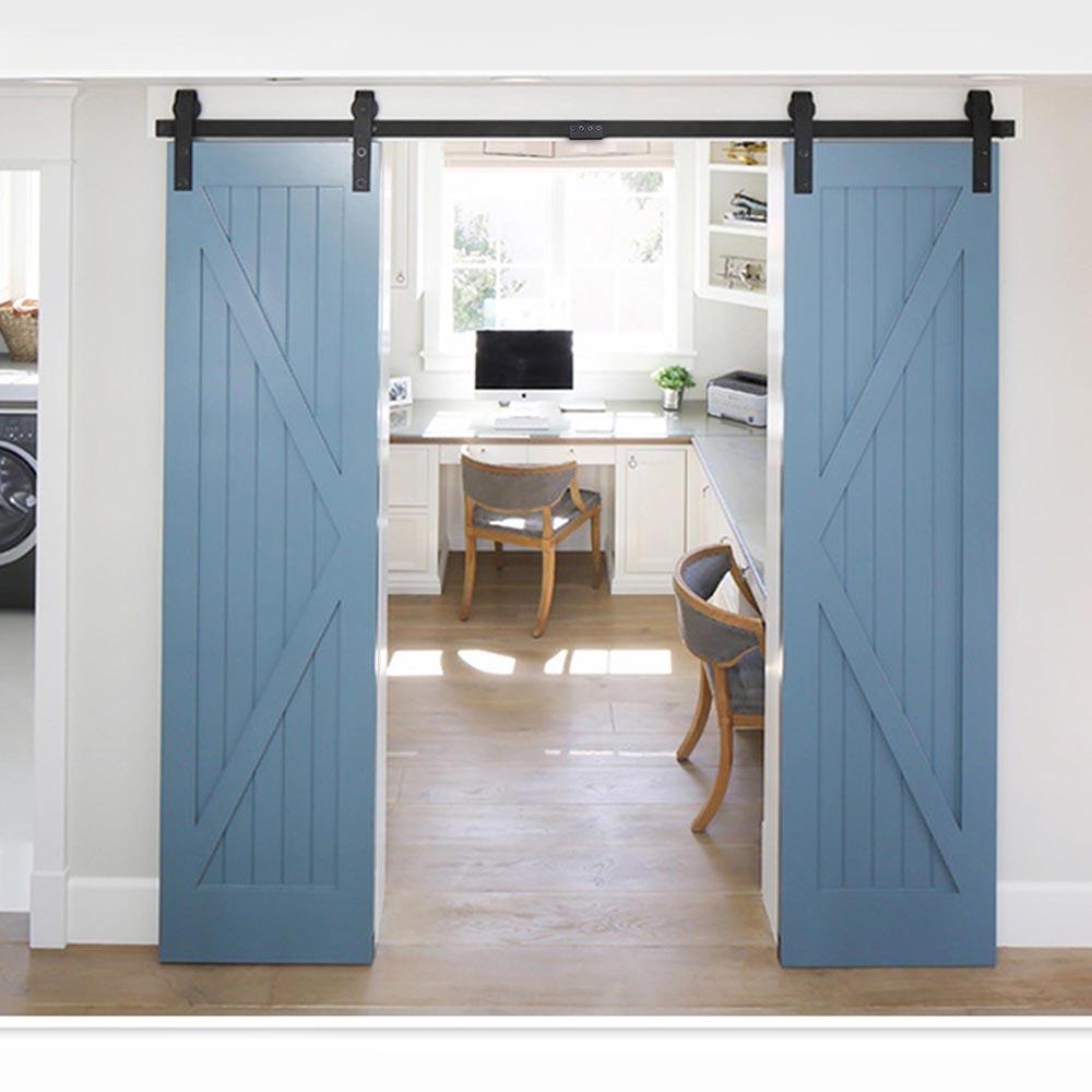 double barn wood door rustic sliding hardware roller track set 10ft 12ft ebay. Black Bedroom Furniture Sets. Home Design Ideas