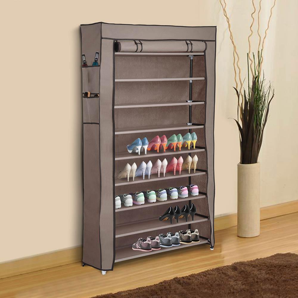 """Shoe Organizers For Closets: 10 Tier Shoe Rack Shelf Closet 45 Pair W/ Cover 5/8"""" Metal"""
