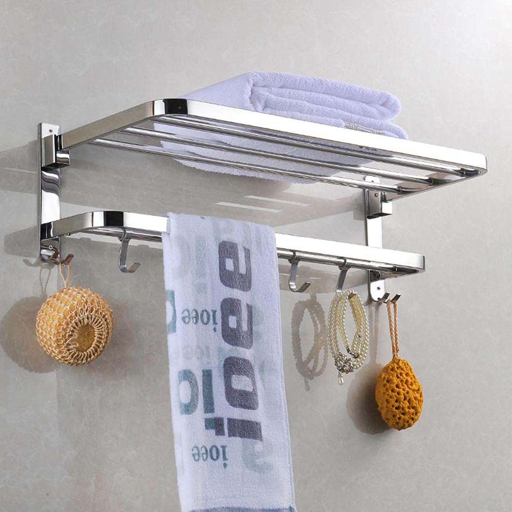 Foldable 304 stainless steel towel rack bar wall mounted - Bathroom wall cabinet with towel rack ...