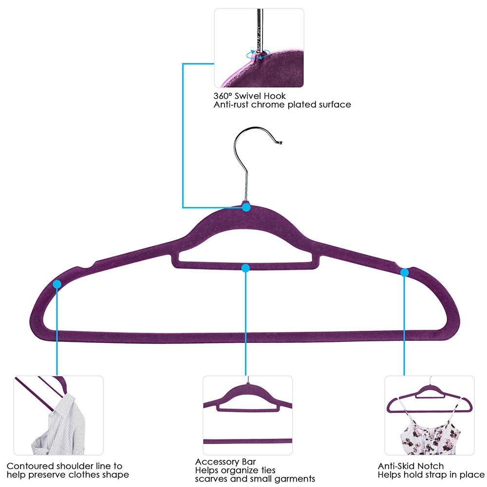 100-Velvet-Suit-Hanger-with-Tie-Bar-Non-Slip-4mm-Ultra-thin-Home-Clothes-Closet thumbnail 27
