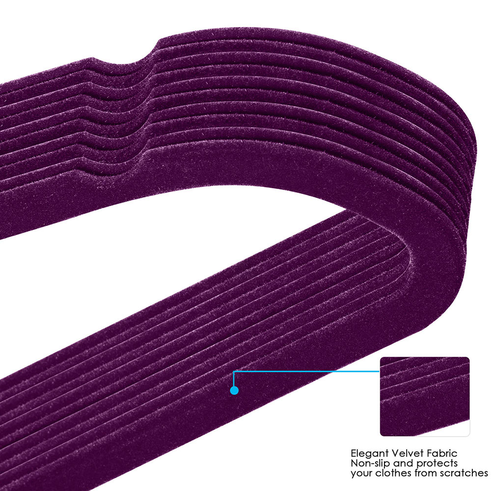 100-Velvet-Suit-Hanger-with-Tie-Bar-Non-Slip-4mm-Ultra-thin-Home-Clothes-Closet thumbnail 28