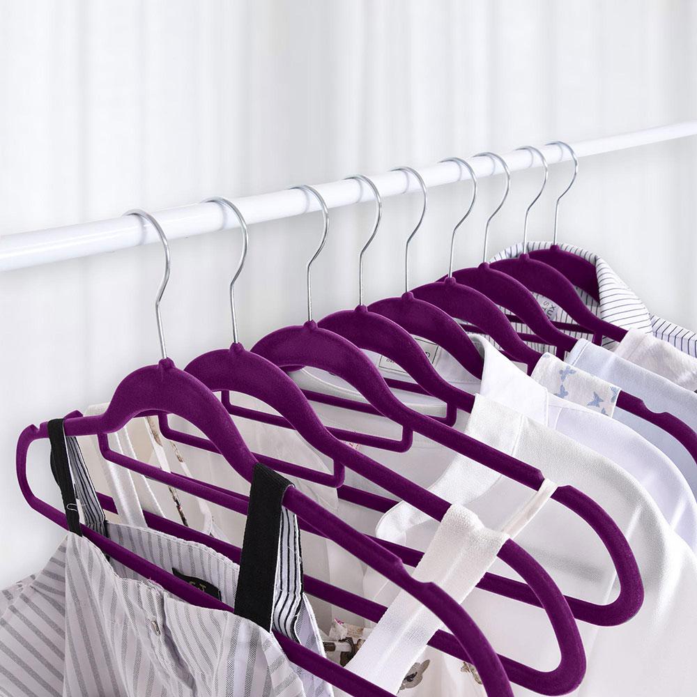 100-Velvet-Suit-Hanger-with-Tie-Bar-Non-Slip-4mm-Ultra-thin-Home-Clothes-Closet thumbnail 30