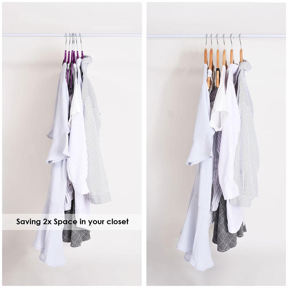 100-Velvet-Suit-Hanger-with-Tie-Bar-Non-Slip-4mm-Ultra-thin-Home-Clothes-Closet thumbnail 31