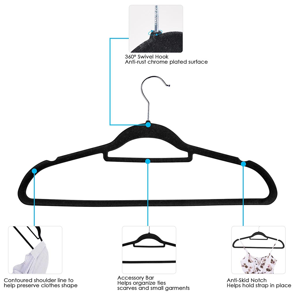 100-Velvet-Suit-Hanger-with-Tie-Bar-Non-Slip-4mm-Ultra-thin-Home-Clothes-Closet thumbnail 3