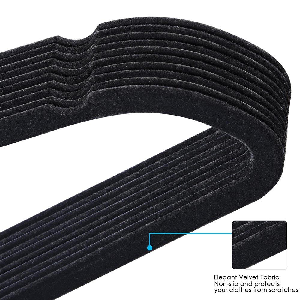 100-Velvet-Suit-Hanger-with-Tie-Bar-Non-Slip-4mm-Ultra-thin-Home-Clothes-Closet thumbnail 4