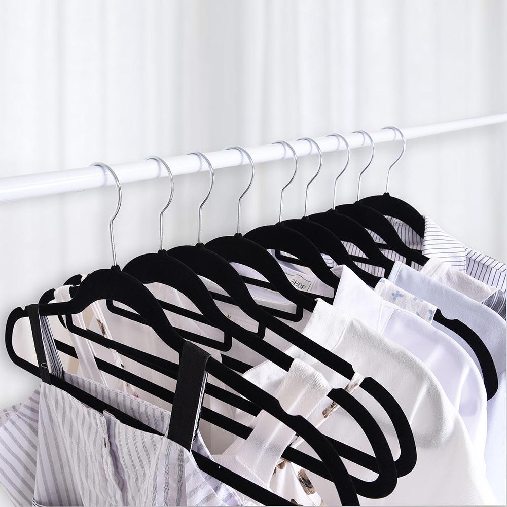 100-Velvet-Suit-Hanger-with-Tie-Bar-Non-Slip-4mm-Ultra-thin-Home-Clothes-Closet thumbnail 6