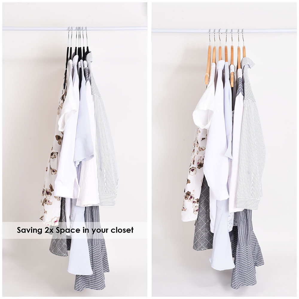 100-Velvet-Suit-Hanger-with-Tie-Bar-Non-Slip-4mm-Ultra-thin-Home-Clothes-Closet thumbnail 7