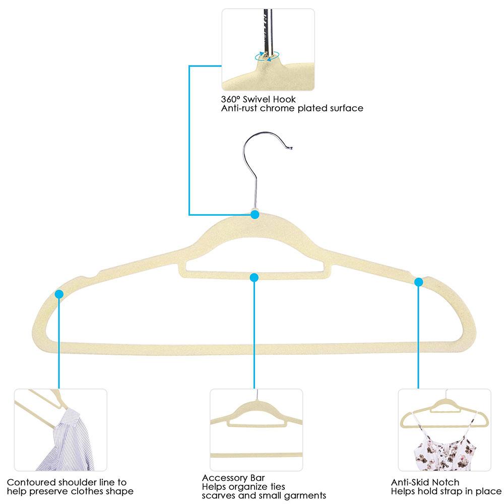 100-Velvet-Suit-Hanger-with-Tie-Bar-Non-Slip-4mm-Ultra-thin-Home-Clothes-Closet thumbnail 15