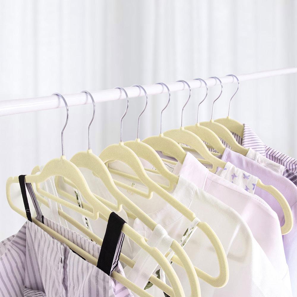 100-Velvet-Suit-Hanger-with-Tie-Bar-Non-Slip-4mm-Ultra-thin-Home-Clothes-Closet thumbnail 18
