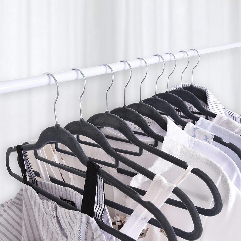 100-Velvet-Suit-Hanger-with-Tie-Bar-Non-Slip-4mm-Ultra-thin-Home-Clothes-Closet thumbnail 12