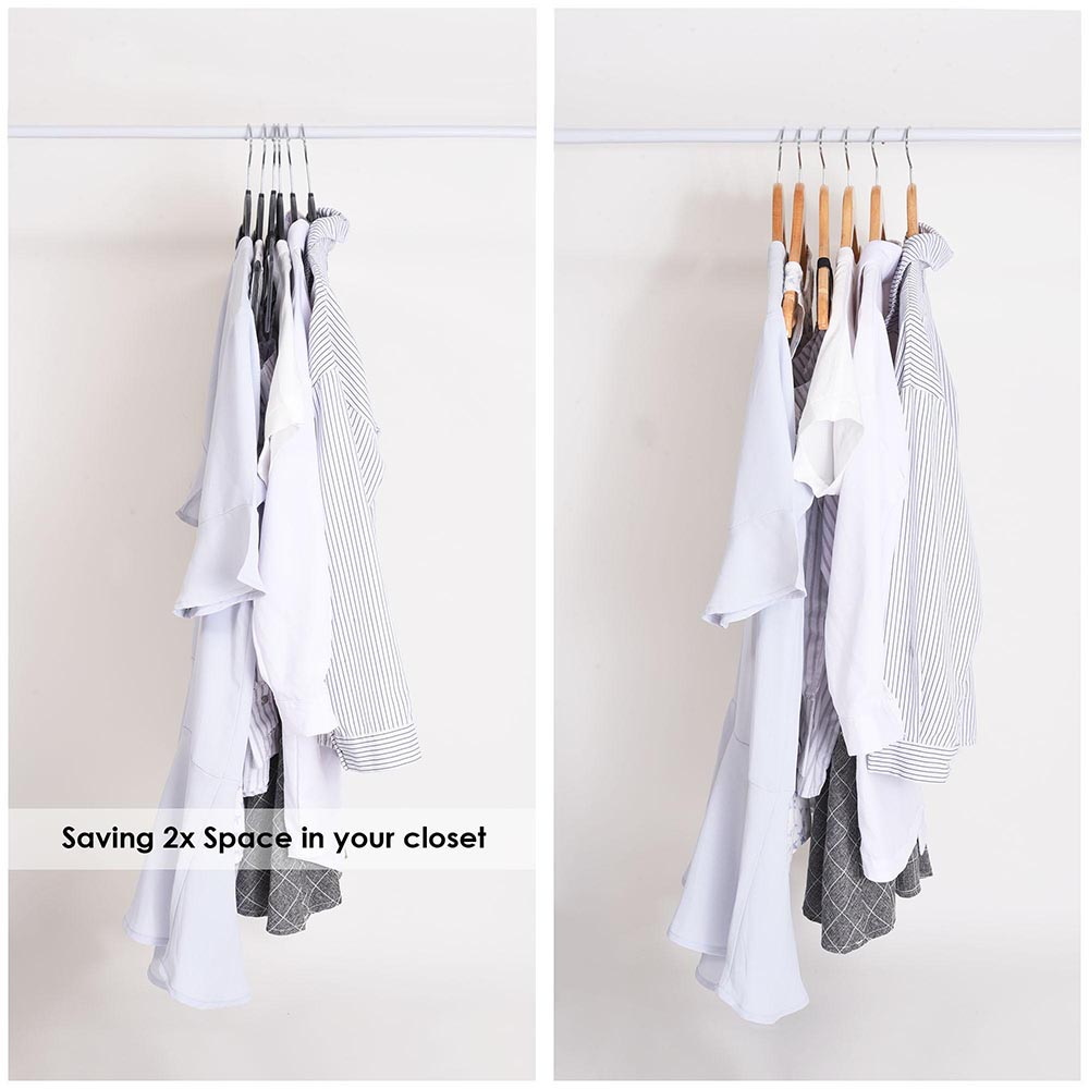 100-Velvet-Suit-Hanger-with-Tie-Bar-Non-Slip-4mm-Ultra-thin-Home-Clothes-Closet thumbnail 13