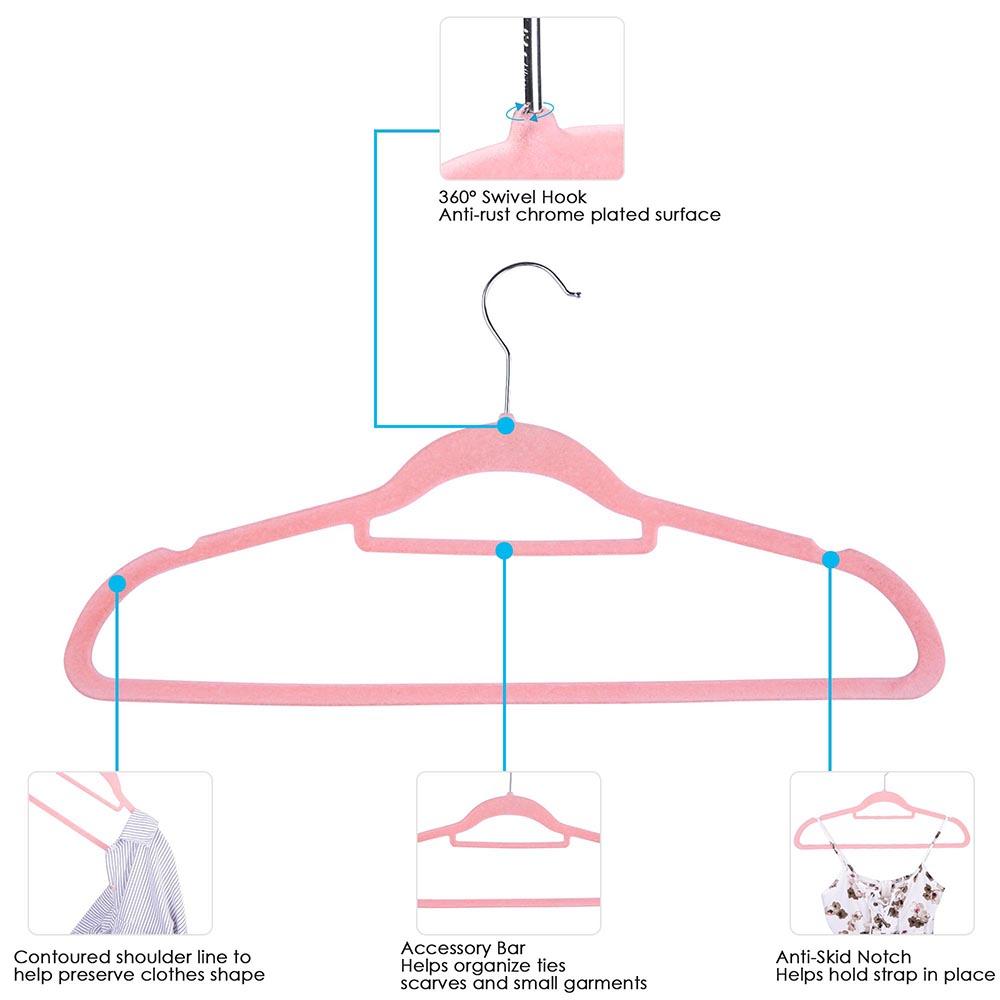 100-Velvet-Suit-Hanger-with-Tie-Bar-Non-Slip-4mm-Ultra-thin-Home-Clothes-Closet thumbnail 21