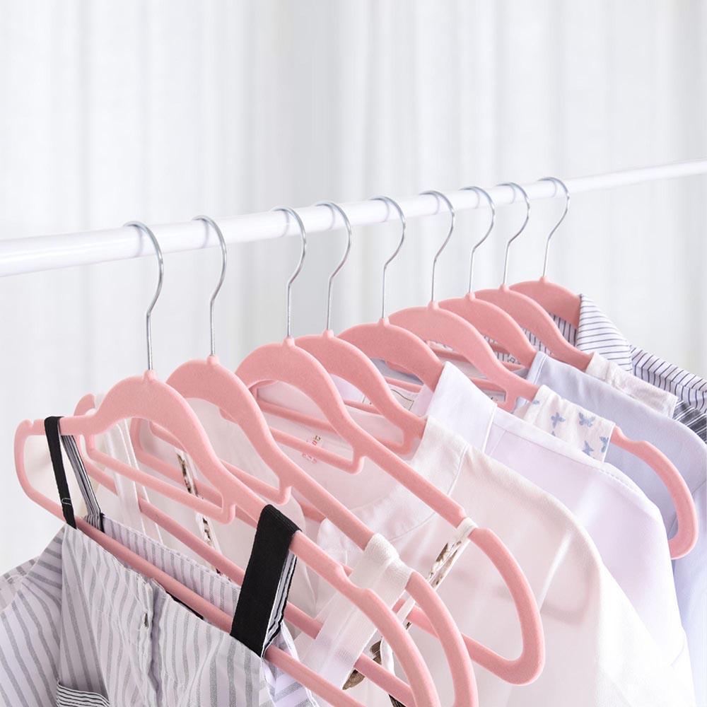 100-Velvet-Suit-Hanger-with-Tie-Bar-Non-Slip-4mm-Ultra-thin-Home-Clothes-Closet thumbnail 24