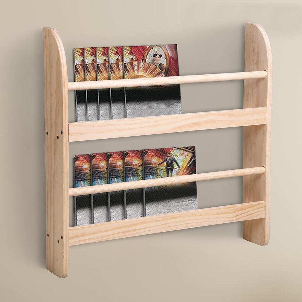 wood wall mounted bookshelf floating bookcase display storage organizer shelf ebay. Black Bedroom Furniture Sets. Home Design Ideas