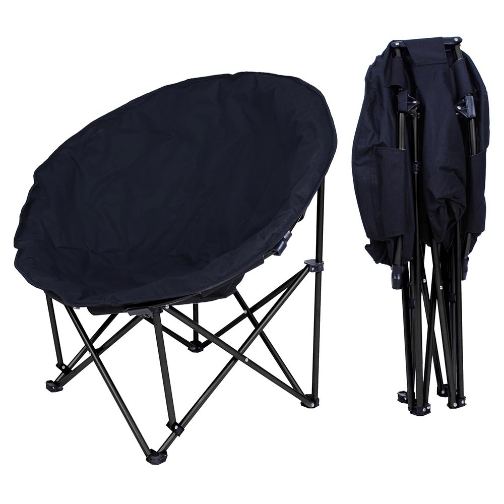 Details about Folding Paded Moon Chair Lounge Round Furniture Comfort  Bedroom Garden Black