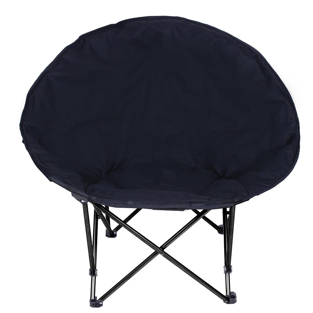 Microsuede-Folding-Padded-Saucer-Moon-Chair-Large-Oversized-Living-Room-Seating thumbnail 2