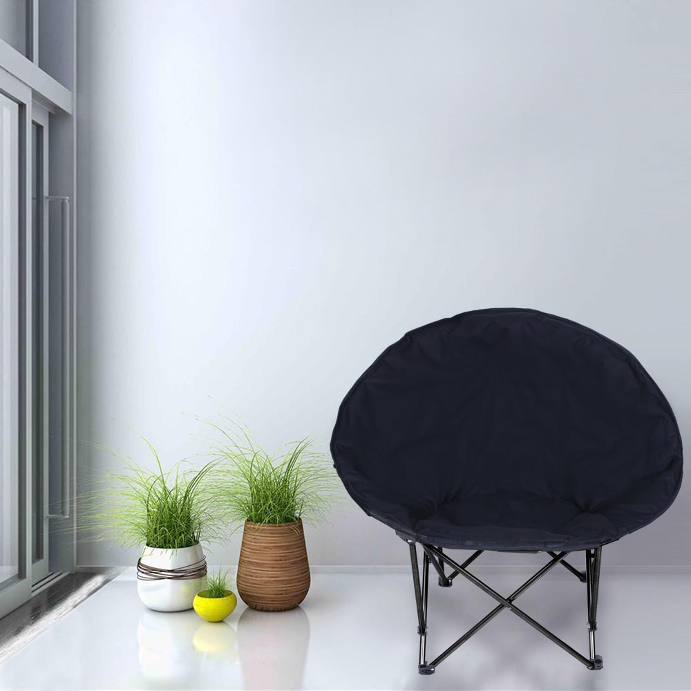 Microsuede-Folding-Padded-Saucer-Moon-Chair-Large-Oversized-Living-Room-Seating thumbnail 4