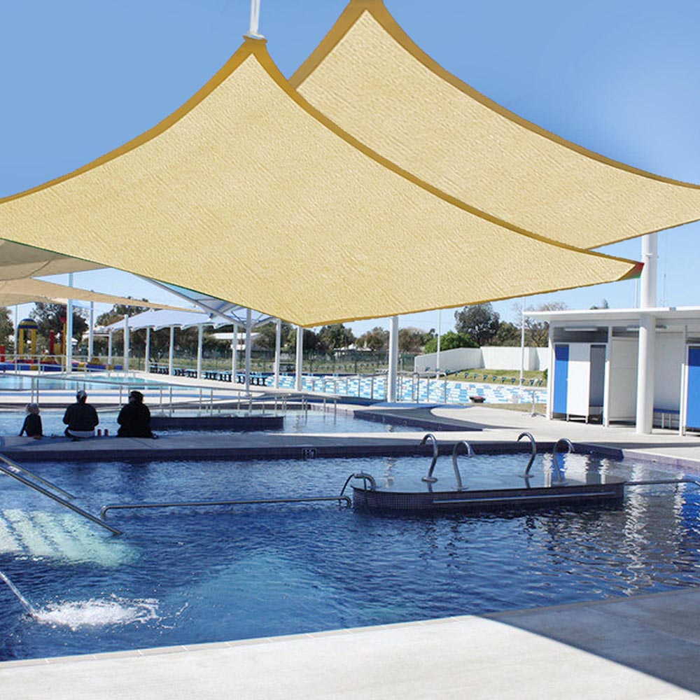 Details about 20\' x 16\' Sun Shade Sail Outdoor Patio Pool Lawn Rectangle  Cover UV Canopy 2pcs