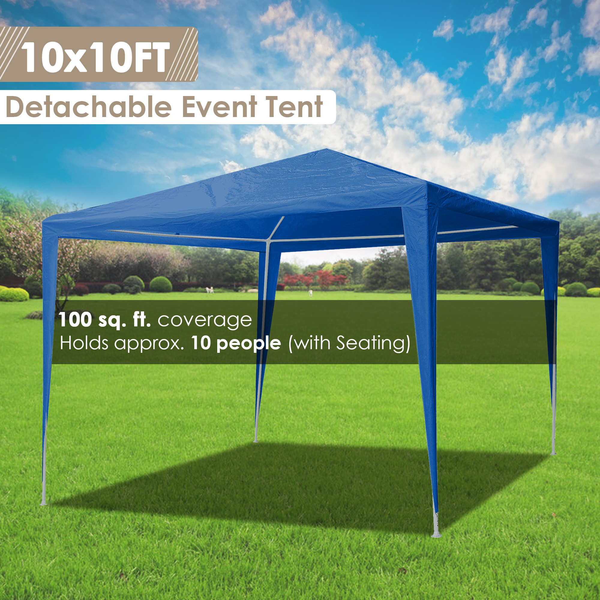 10-039-x10-039-Outdoor-Tent-Patio-Wedding-Canopy-Party-Marquee-Pavilion-w-4-Side-Walls thumbnail 3