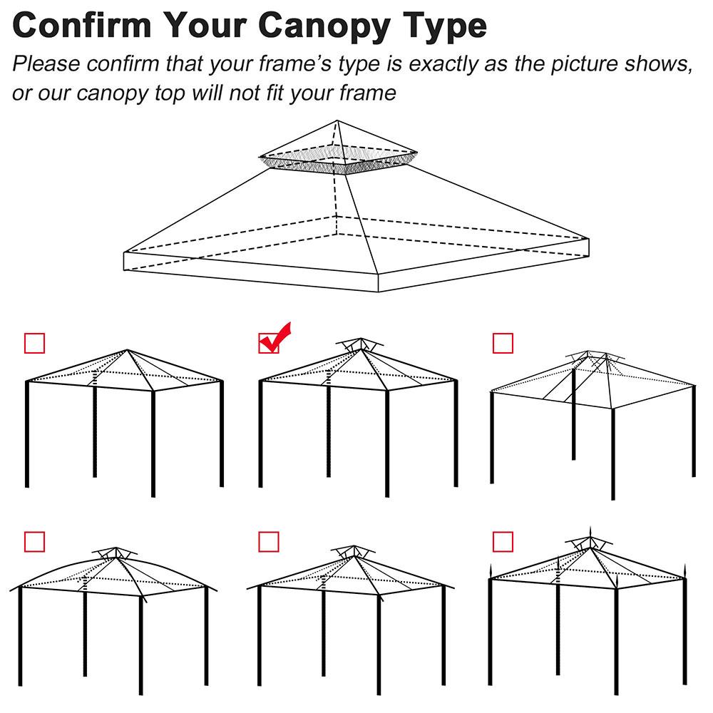 8x8-039-10x10-039-12x12-039-Gazebo-Top-Canopy-Replacement-UV30-Patio-Outdoor-Garden-Cover thumbnail 196