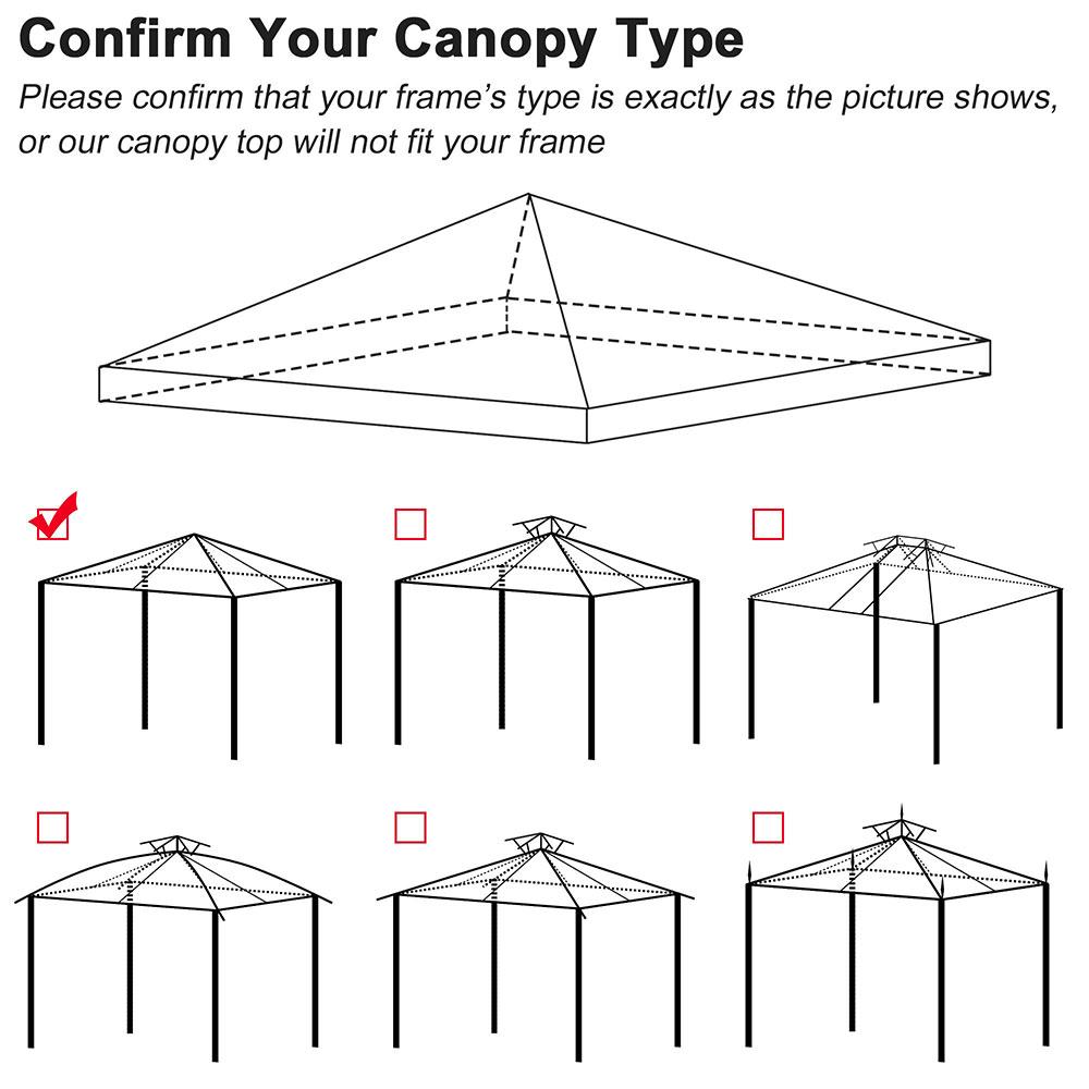 8x8-039-10x10-039-12x12-039-Gazebo-Top-Canopy-Replacement-UV30-Patio-Outdoor-Garden-Cover thumbnail 16