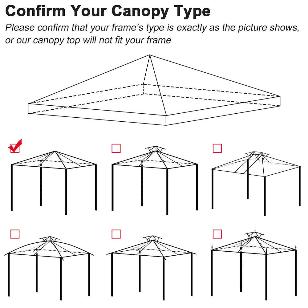 8x8-039-10x10-039-12x12-039-Gazebo-Top-Canopy-Replacement-UV30-Patio-Outdoor-Garden-Cover thumbnail 179