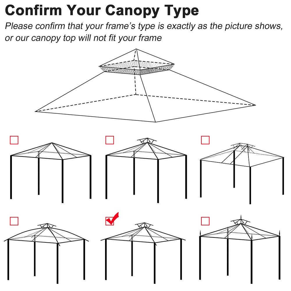 8x8-039-10x10-039-12x12-039-Gazebo-Top-Canopy-Replacement-UV30-Patio-Outdoor-Garden-Cover thumbnail 76