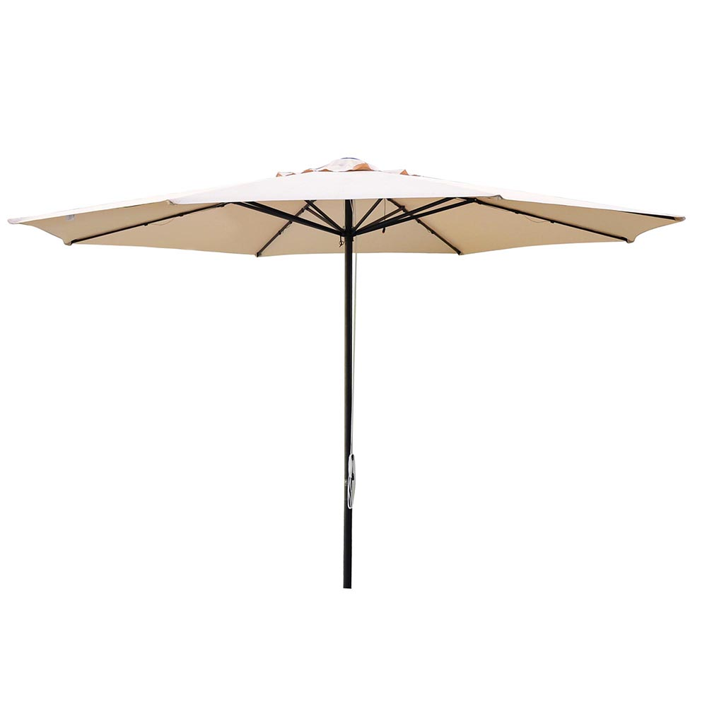 13FT Patio Umbrella W/ 48 LED Outdoor Market Beach Garden Cover 8 Rib Top  Canopy