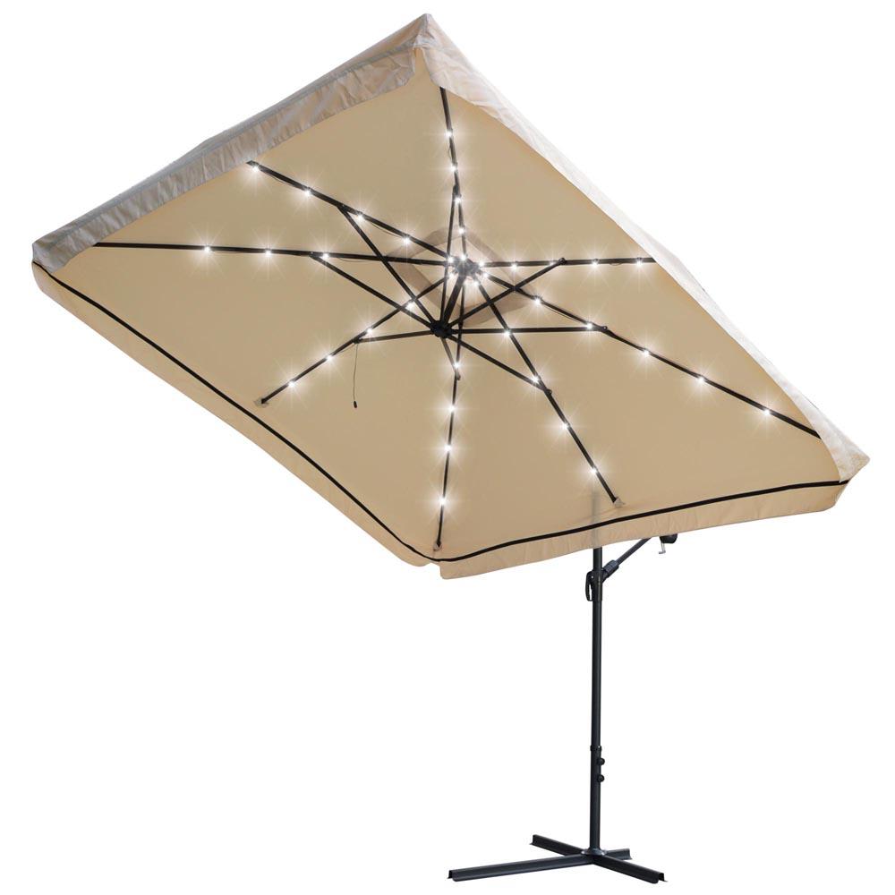 9x9 Led Roma Patio Offset Umbrella Crank Hanging Garden